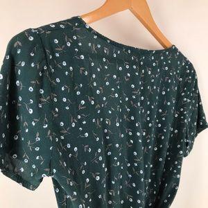 Brandy Melville Tops - Brandy Melville Green Rae Green Floral Wrap Top